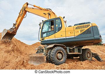 輪子, 挖掘機, sandpit, 在期間, 工作, earthmoving