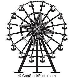 輪子, 矢量, 黑色半面畫像, ferris