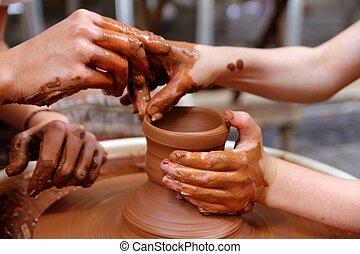 輪子, 陶器, 工作, 波特, 車間, 手, 黏土, 老師