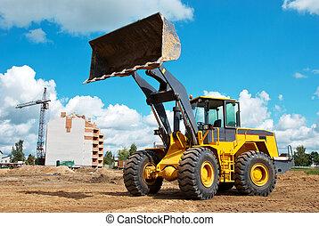 輪子, sandpit, loader, 在期間, 工作, earthmoving