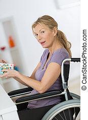輪椅, 家, 婦女