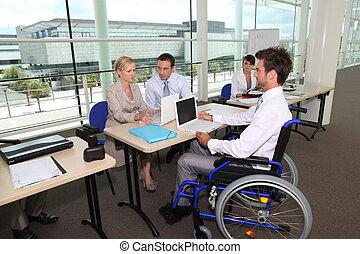 輪椅, 辦公室, 工作, 人