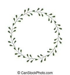 輪, 標識語, 邀請, 綠色白色, illustration., 股票, 框架, leaves., 最簡單派藝術家, 樣板, 邊框, laconic, 設計, 時髦, 矢量, greetings., wreath., 被隔离, 末梢, 背景, style.