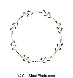 輪, 設計, 框架, 樣板, 末梢, 插圖, 離開, 脫落, greetings., 時髦, 矢量, wreath., laconic, 標識語, 綠色, dots., border., 邀請, 最簡單派藝術家