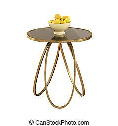 輪, 3d, 梨, 白色, 桌子, 咖啡, 背景。, 花瓶, rendering