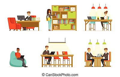 辦公室。, 工作, 人, 矢量, illustration., 婦女