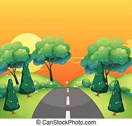 農村, 傍晚, 場景, 路