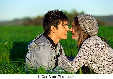 農村, affection., 夫婦, 顯示, 年輕