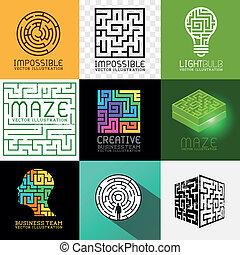 迷宮, 難題, 矢量, 彙整