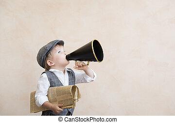 透過, 呼喊, 擴音器, 孩子, 葡萄酒