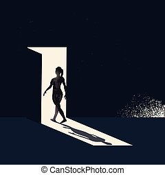 透過, 步行, 門打開, 婦女