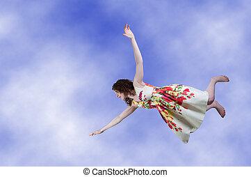 透過, 落下, 婦女, 天空