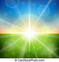 透鏡閃光, 明亮, 日出, 背景。