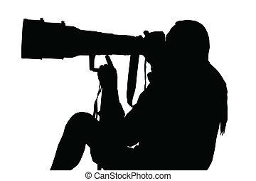 透鏡, 坐, 攝影師, 大, 黑色半面畫像