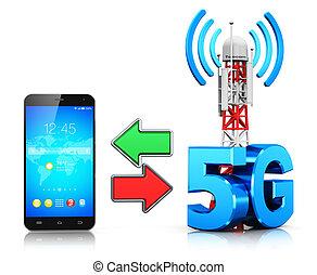 通訊, 5g, 無線, 概念, 技術