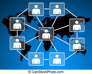 連線, 社會, 一起, network., 模型, 人類