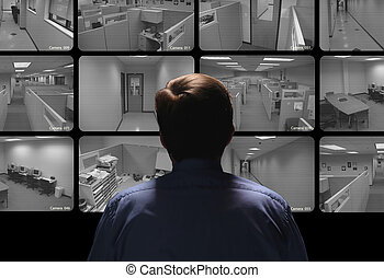 進行, 觀看, 監視, 衛兵, 安全, 一些, 監控