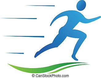運動, 人, 健身, 跑, fast.