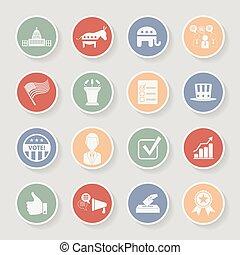 運動, 圖象, set., 政治, 插圖, 矢量, 選舉, 輪