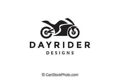 運動, 插圖, 設計, 標識語, 簡單, 圖象, 矢量, 摩托車, 黑色半面畫像