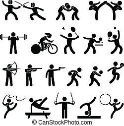 運動, 游戲, 室內, 運動, 圖象