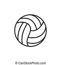 運動, 球, equipment., 矢量, icon., 黑色半面畫像, 背景。, 白色, 排球, illustration.