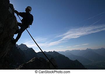 運動, -, 登山運動員, 極端, 黑色半面畫像