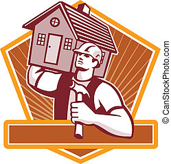 運載, 房子, 建造者, 木匠, retro
