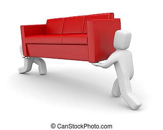 運載, 沙發, metaphor., 移動, 人們