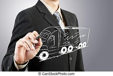 運輸, 平局, 人, 事務, 卡車
