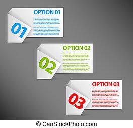 選擇, 紙, -, 一, 二, 三, 矢量, 白色