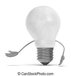 邀請, 光, 字, 燈泡, 鎢, 做, 白色, 姿態