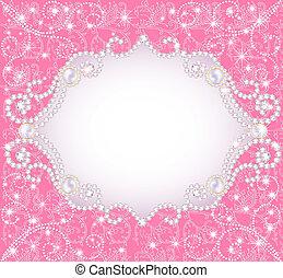 邀請, 背景, 粉紅色, 珍珠