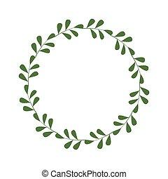 邀請, 設計, 插圖, 末梢, leaves., 輪, 樣板, 綠色, 框架, 邊框, 最簡單派藝術家, laconic, greetings., 時髦, 標識語, 矢量, wreath., style.