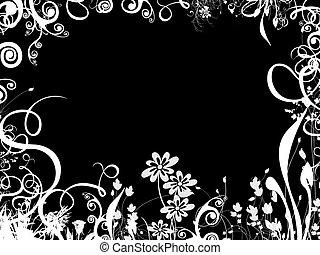 邊框, 在上方, 黑色, 葉子
