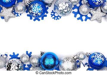 邊框, 裝飾品, 在上方, 聖誕節, 白色, 雙, 銀, 藍色
