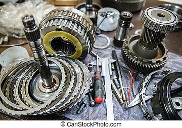 部分, 傳輸, 修理, 汽車, 自動, 工具