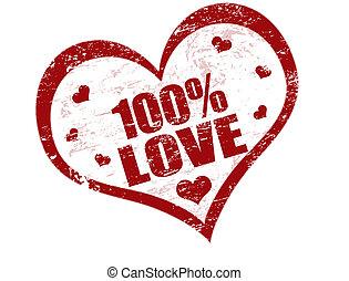 郵票, 100%, 愛