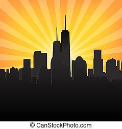 都市風景, 圖案, sunburst