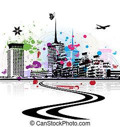 都市風景, 城市, 背景, 藝術