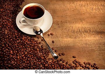 鄉村, 豆, 杯子, 桌子, 咖啡, 白色