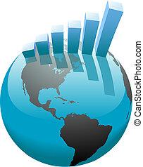 酒吧, 事務, 圖表, 全球, 成長, 世界