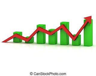 酒吧, 事務, 圖表, 成長, 綠色, 箭, 紅色
