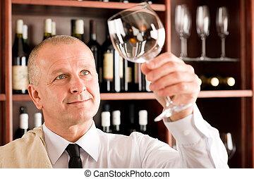 酒吧, 侍者, 看玻璃, 打掃, 酒