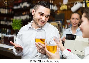 酒吧, 夫婦, 酒, 年輕