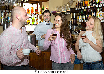 酒吧, 女談論, 人