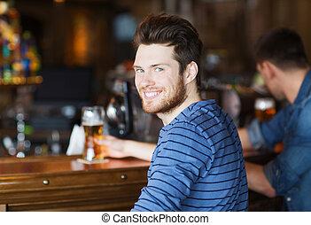 酒吧, 年輕, pub, 啤酒, 喝酒, 人, 或者, 愉快