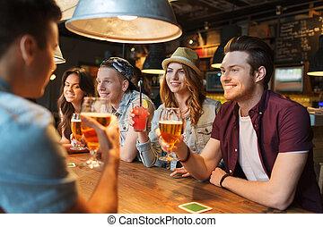酒吧, 愉快, 或者, 談話, pub, 喝, 朋友