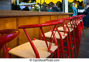 酒吧, 打開, 凳子, 紅色, 空, 以前