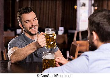 酒吧, 放松, 人, 年輕, 二, 啤酒, pub., 喝酒